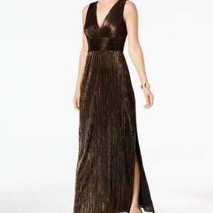 Jessica Howard Pleated Metallic Slit Gown, Size 8